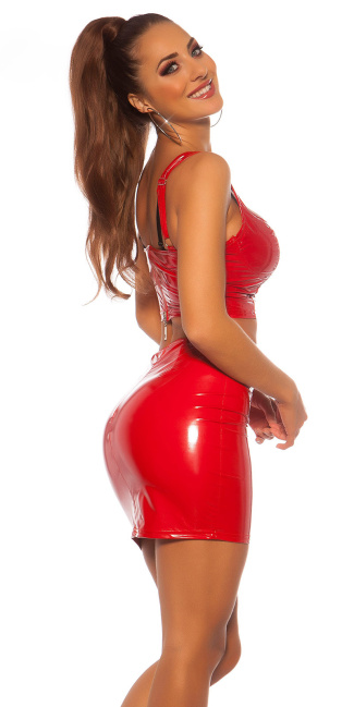 Sexy Koucla Latexlook mini skirt Red