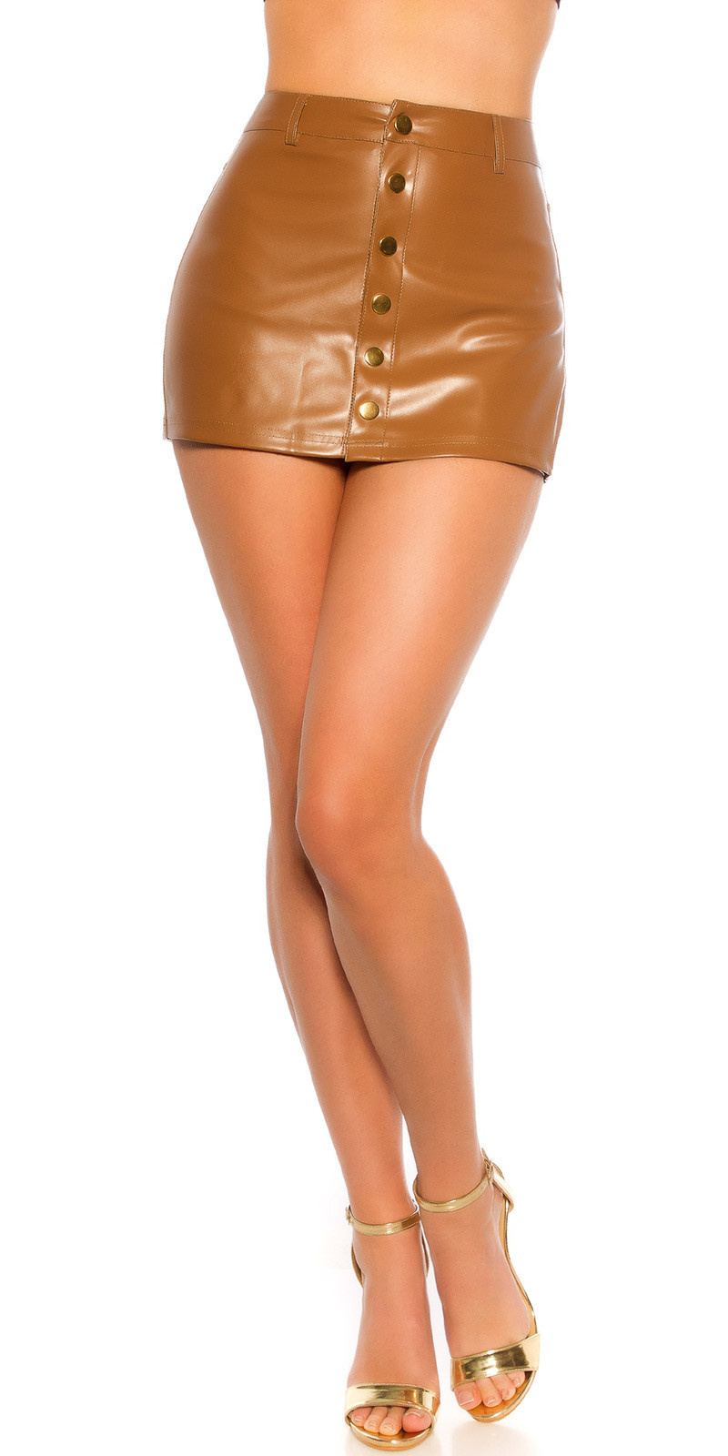 Sexy KouCla Mini skort Leather look Brown