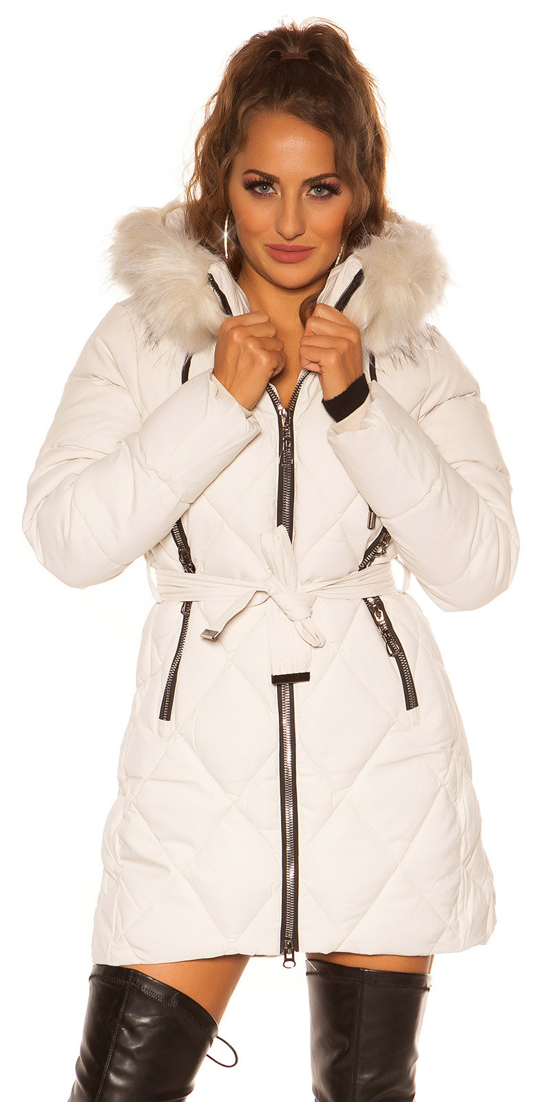 Sexy winter jacket w. Zips, belt + fake fur Hood Beige
