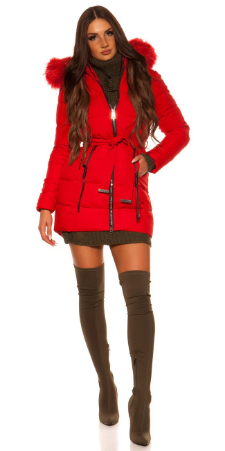 Trendy winter jacket w. belt + detachable hood Red