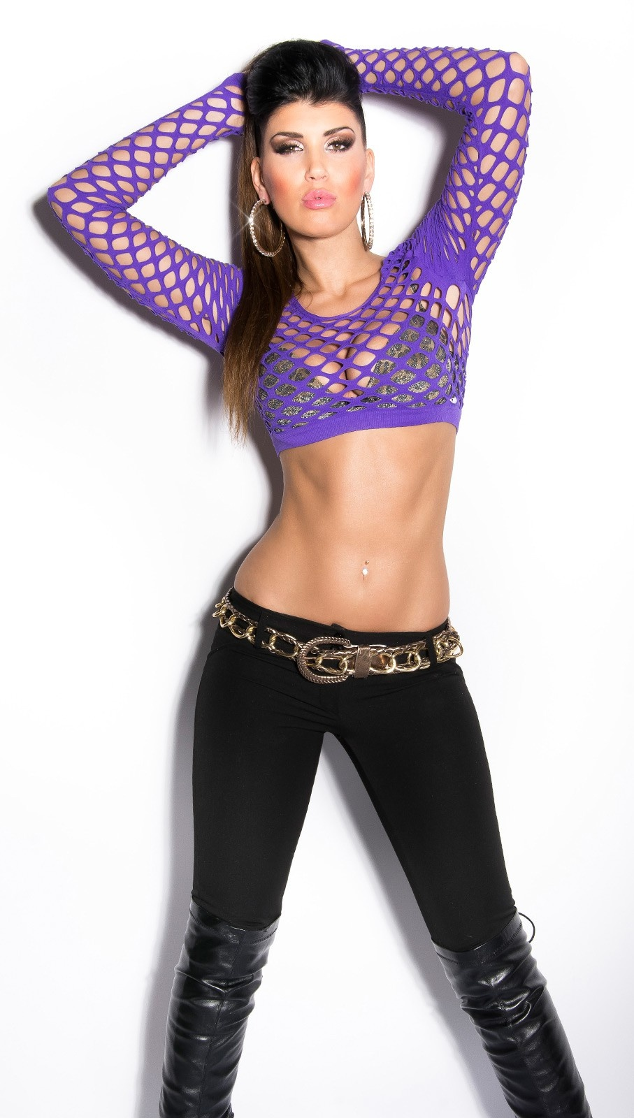 Sexy net-shirt belly-free Purple