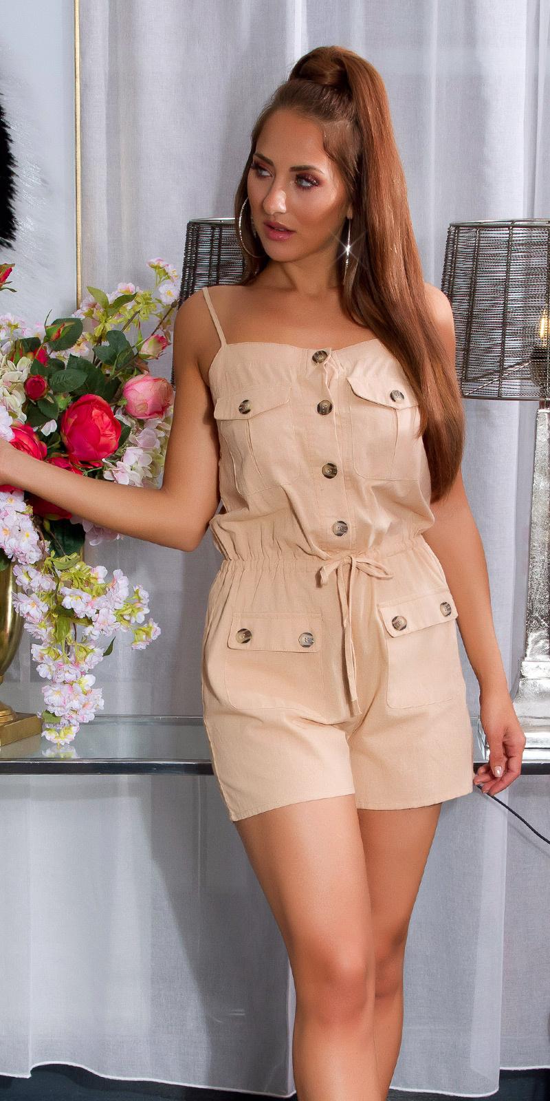 Sexy linnen look jumpsuit met knopen en zakken beige