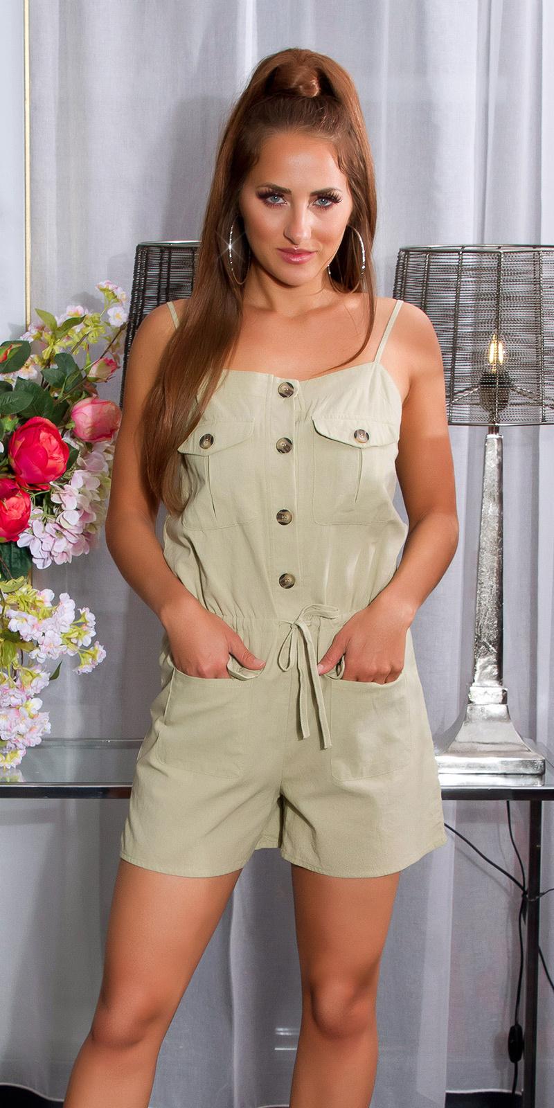 Sexy linnen look jumpsuit met knopen en zakken khaki