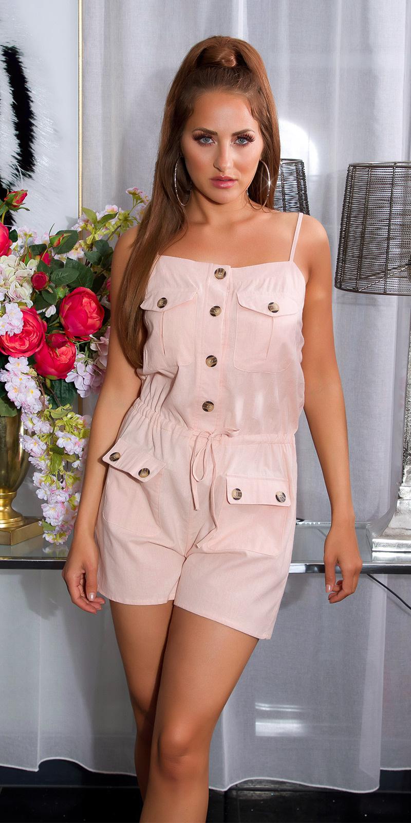 Sexy linnen look jumpsuit met knopen en zakken roze