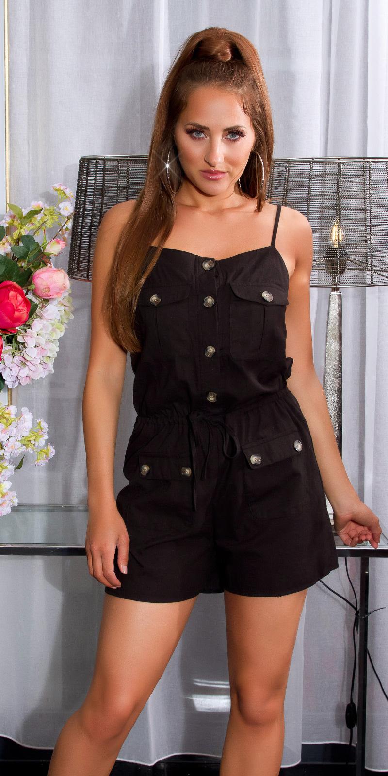 Sexy linnen look jumpsuit met knopen en zakken zwart
