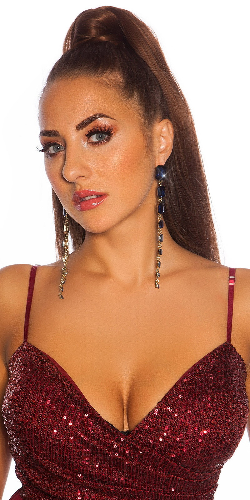 Sexy lange glamour oorbellen met strass steentjes blauw