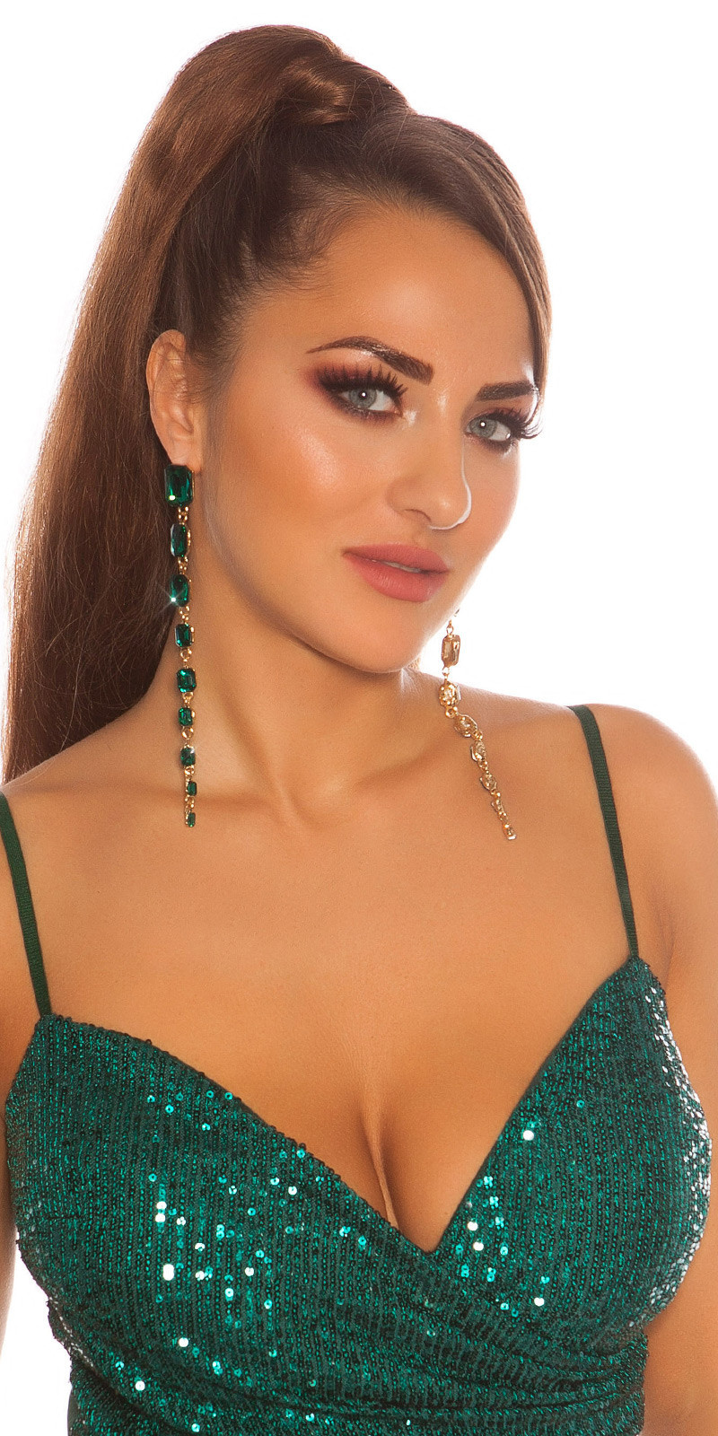 Sexy long Glamour earrings with rhinestones Green