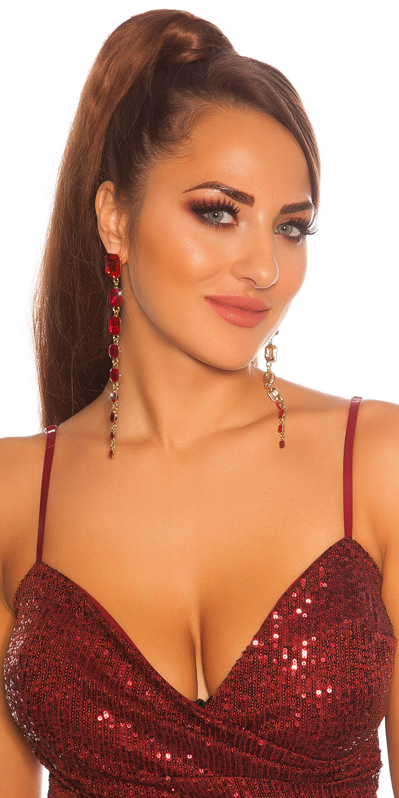 Sexy long Glamour earrings with rhinestones Red