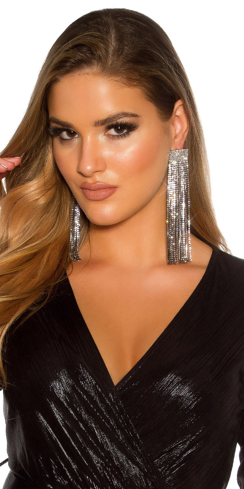 Sexy earrings with rhinestones Black