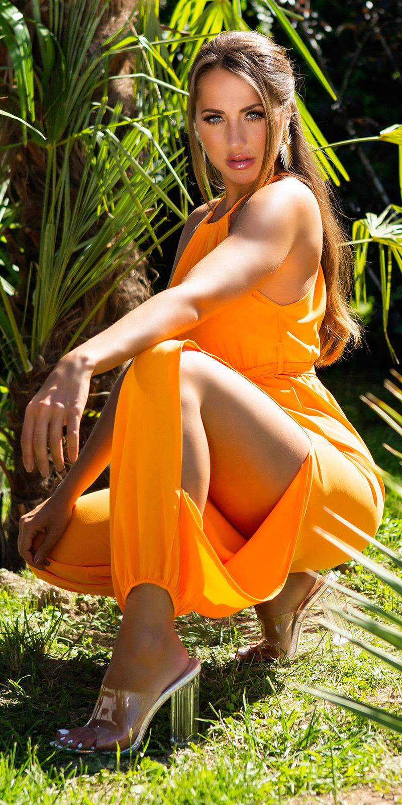 Sexy zomer jumpsuit met riem oranje