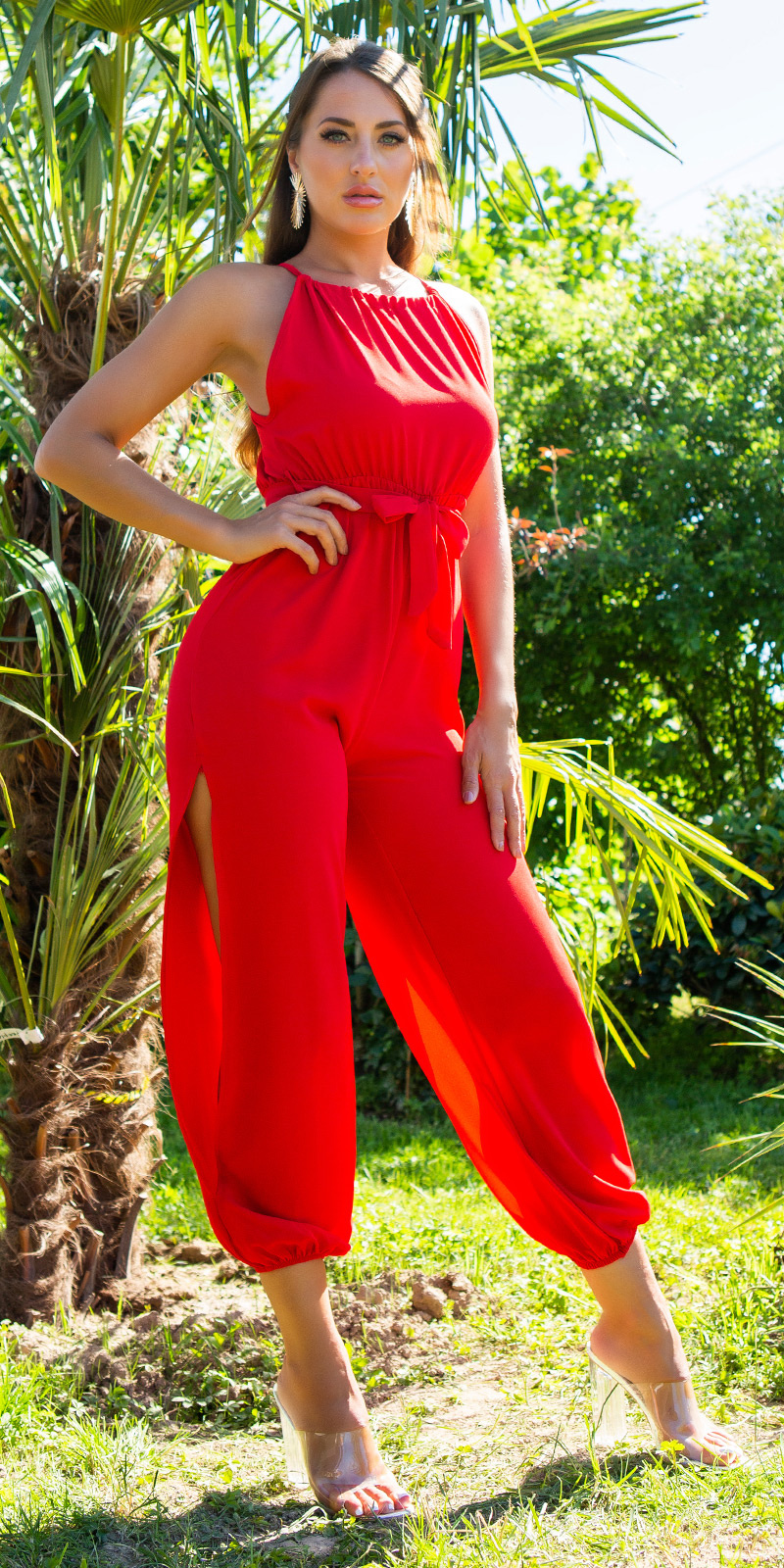 Sexy zomer jumpsuit met riem rood