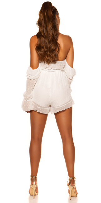 Sexy Playsuit with belt White