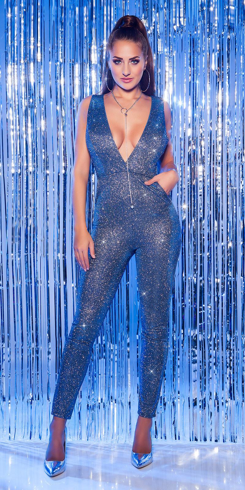 Sexy feest uitgaans jumpsuit met xl v-hals blauw