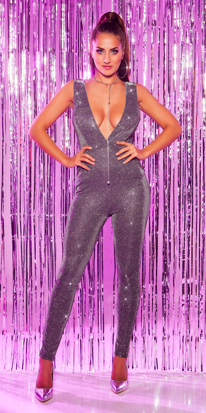 Sexy feest uitgaans jumpsuit met xl v-hals zilver