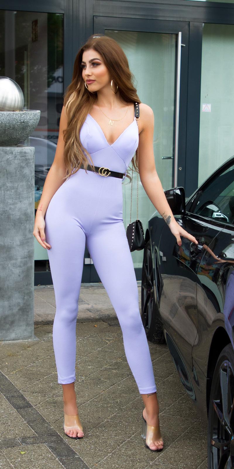 Sexy fashionista overall met riem lila