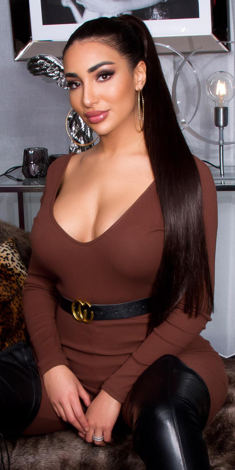 Sexy v-halter overall met riem bruin