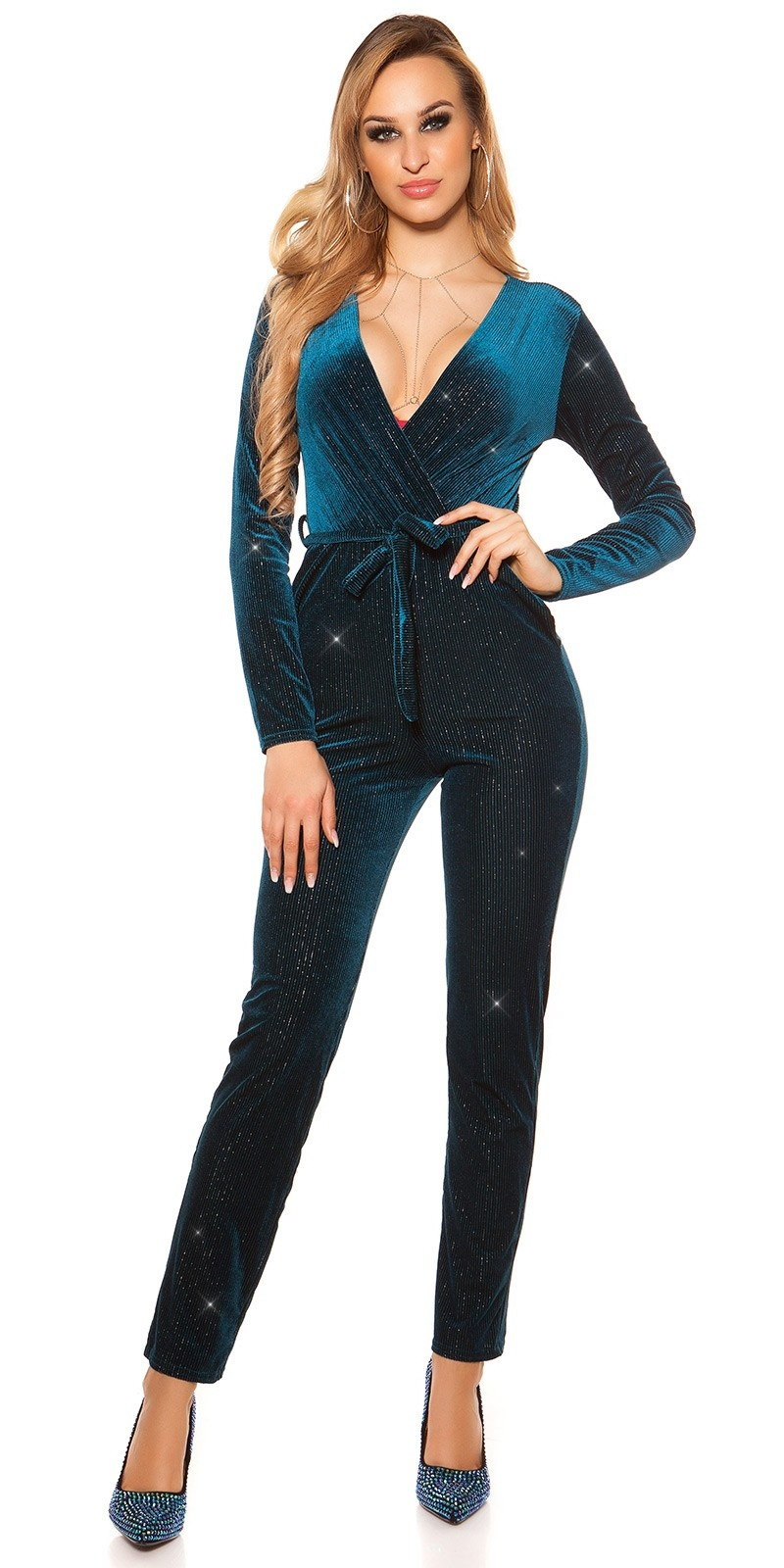 Sexy jumpsuit velvet look with glitter thread&belt Petrol