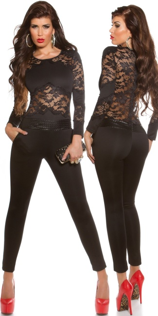 dcf1404d5 Sexy KouCla jumpsuit with lace sexy insight Black - ai0000OV182461-1 ...