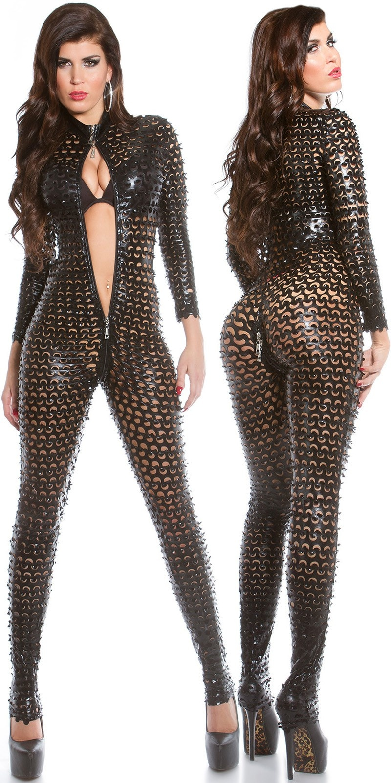 Sexy wetlook katsuit met 2weg ritssluiting zwart