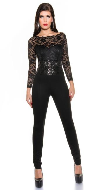 party-jumpsuit met lange mouwen, kant en pailletten zwart