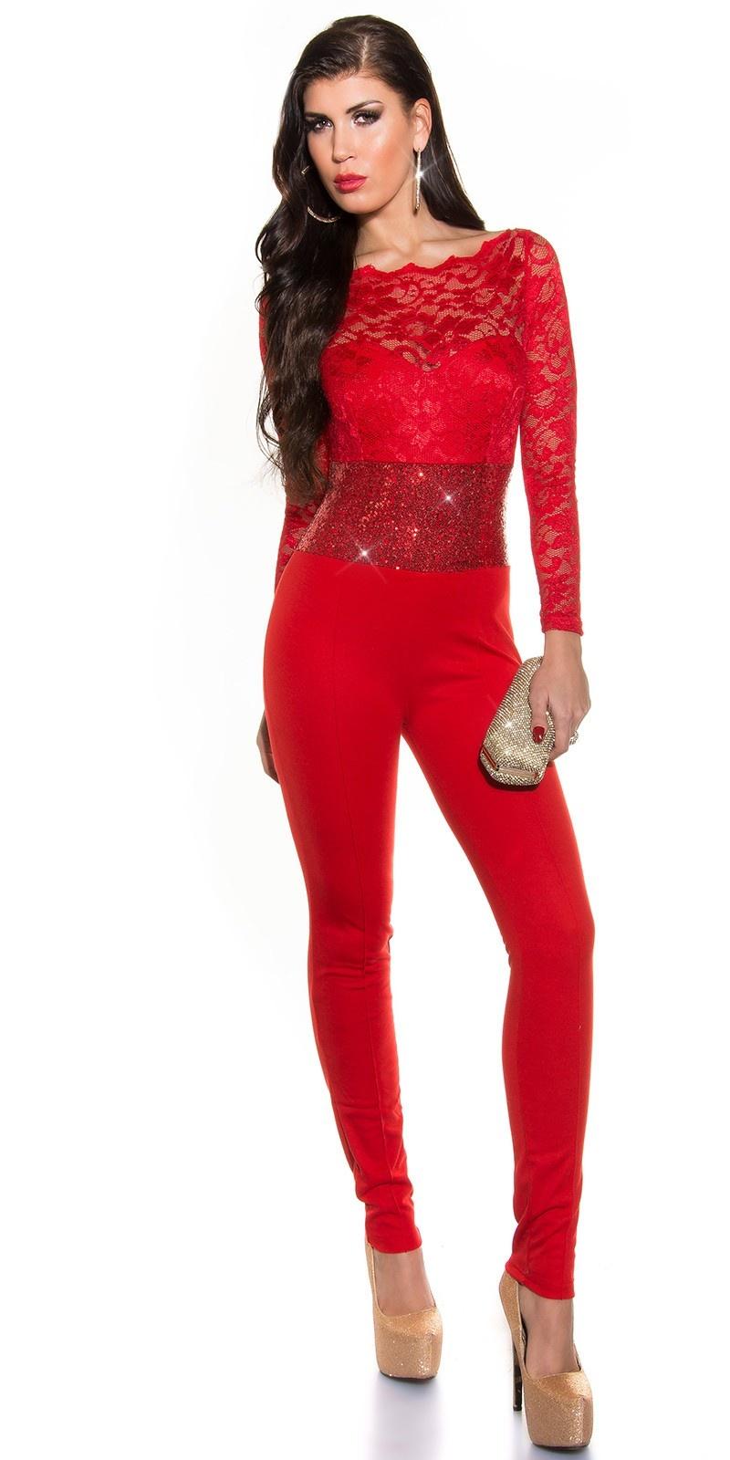 Party-jumpsuit met lange mouwen, kant en pailletten Rood