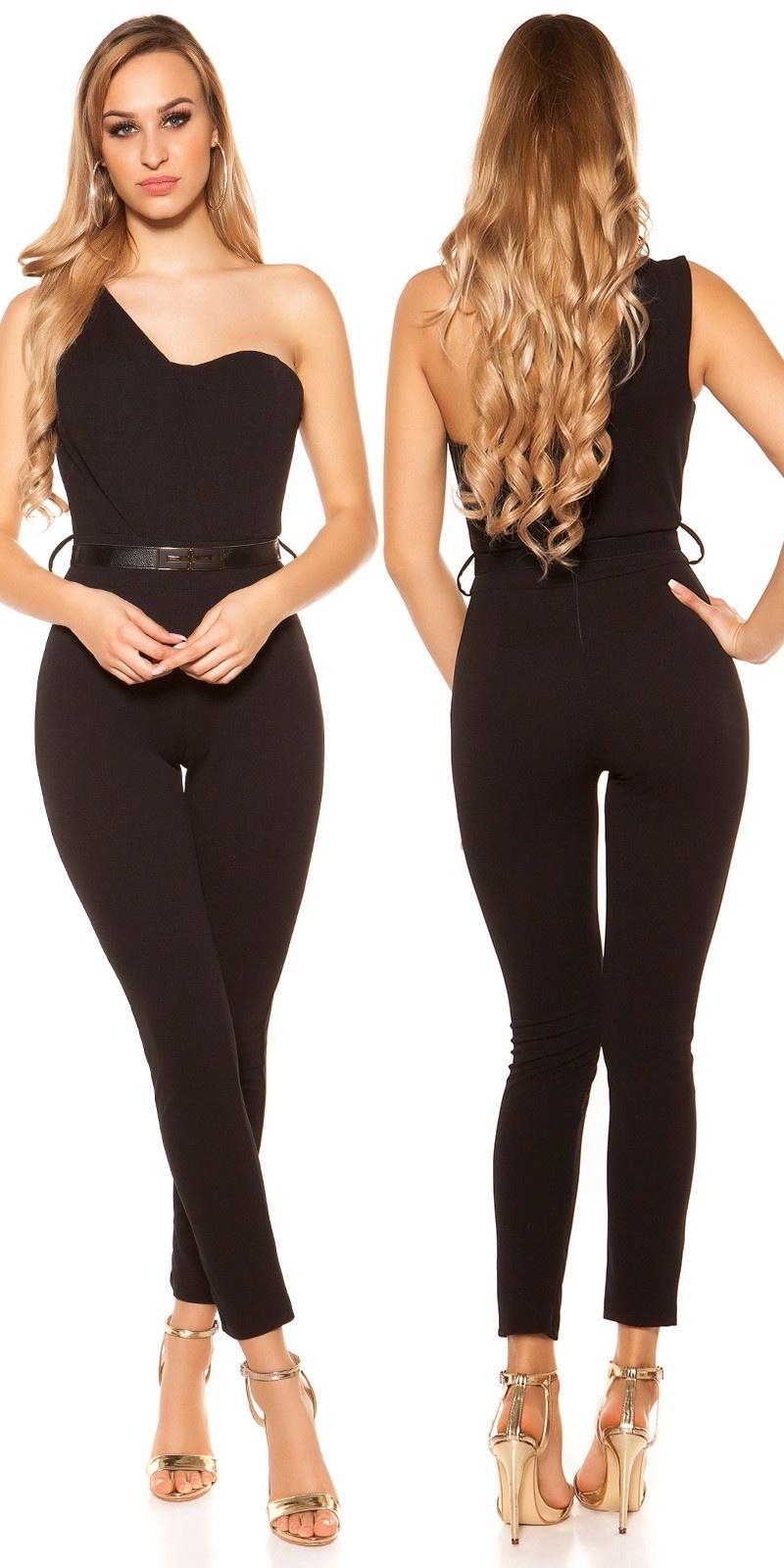 Sexy een-schouder jumpsuit met riem zwart