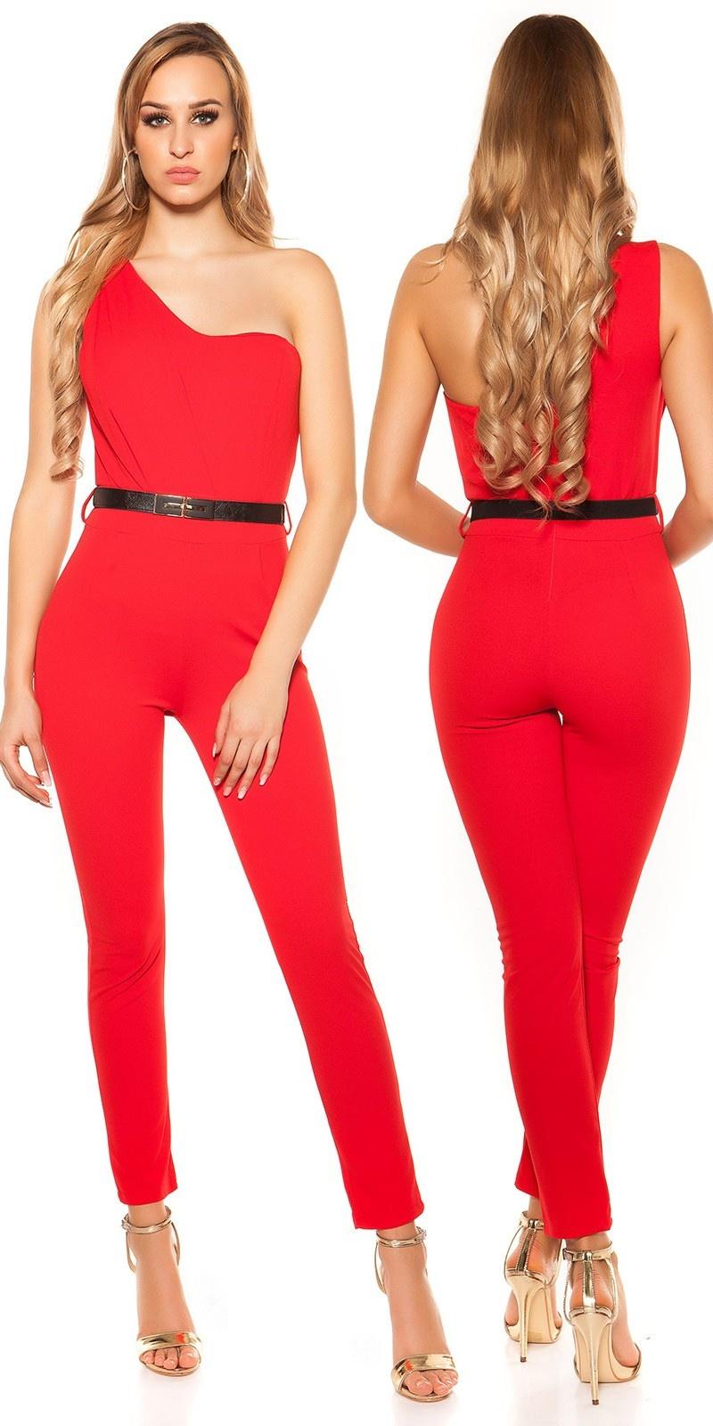 Sexy een-schouder jumpsuit met riem rood