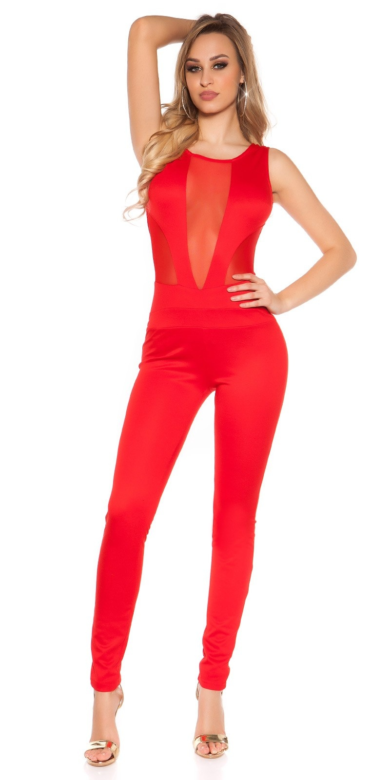 Sexy Koucla jumpsuit with sexy net-applications Red