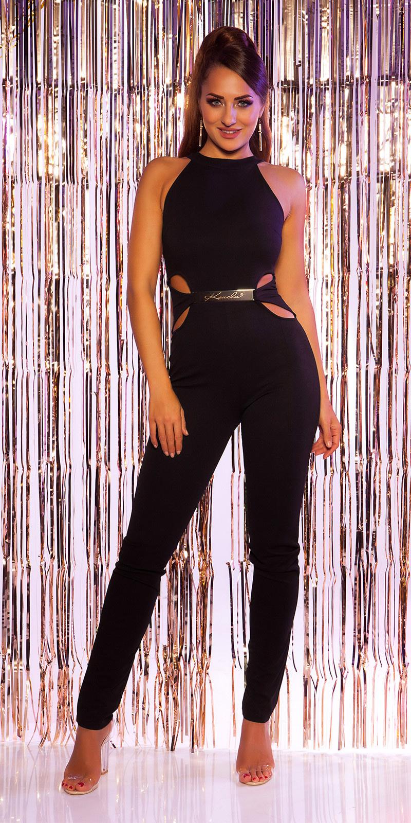 Sexy halter jumpsuit + sexy inkijk, skinny zwart