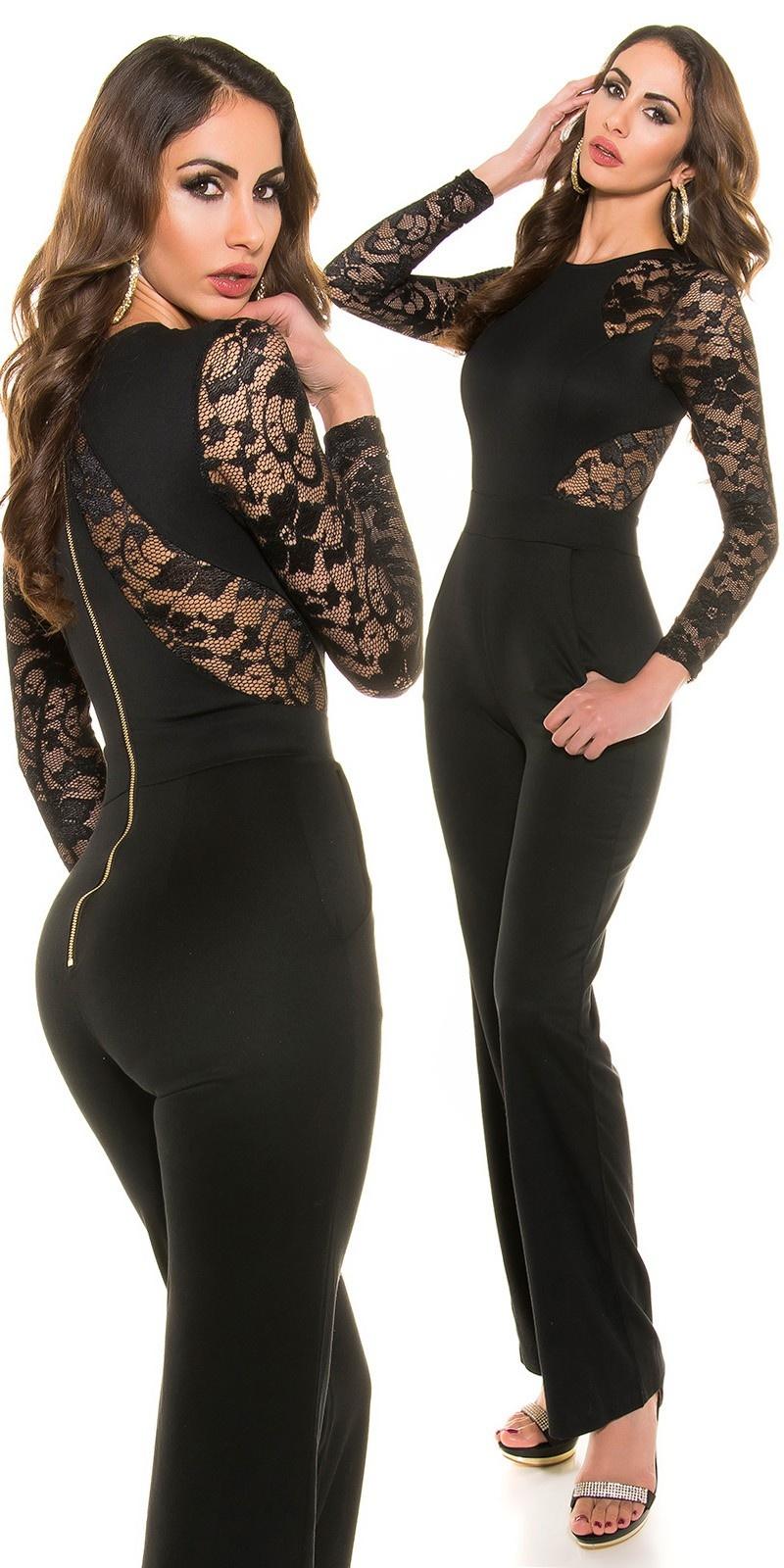 Sexy lange mouw overall met kant zwart