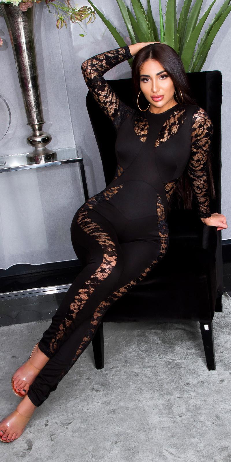 Sexy jumpsuit met kant Zwart