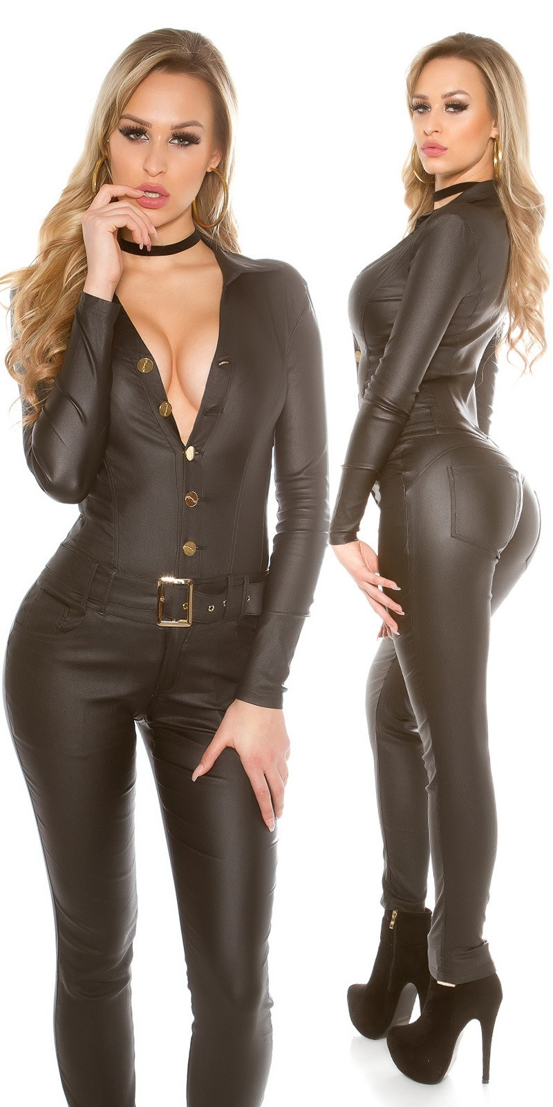 Sexy Koucla leatherlook longsleeve jumpsuit Black