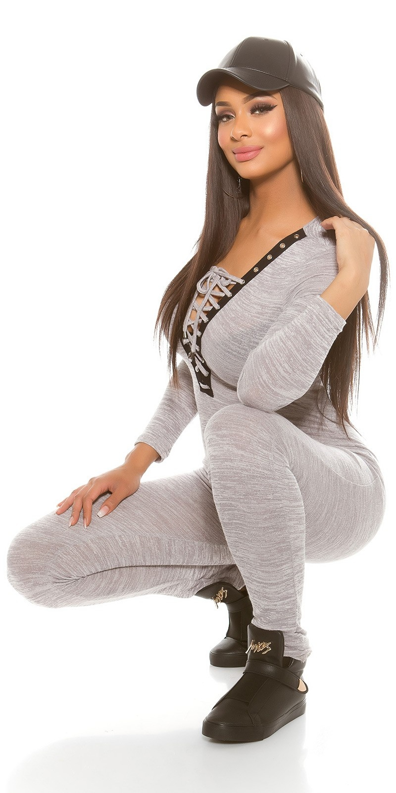 Trendy Koucla Fineknit jumpsuit with lacing Grey