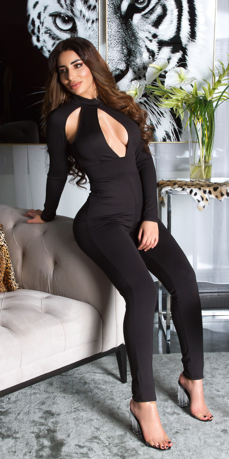 Sexy KouCla long sleeve jumpsuit with cut outs Black