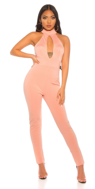 Sexy KouCla Neck Overall Sexy Decollete Antiquepink