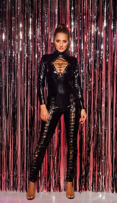 Sexy KouCla Turtleneck LatexLookJumpsuit w. lacing Black
