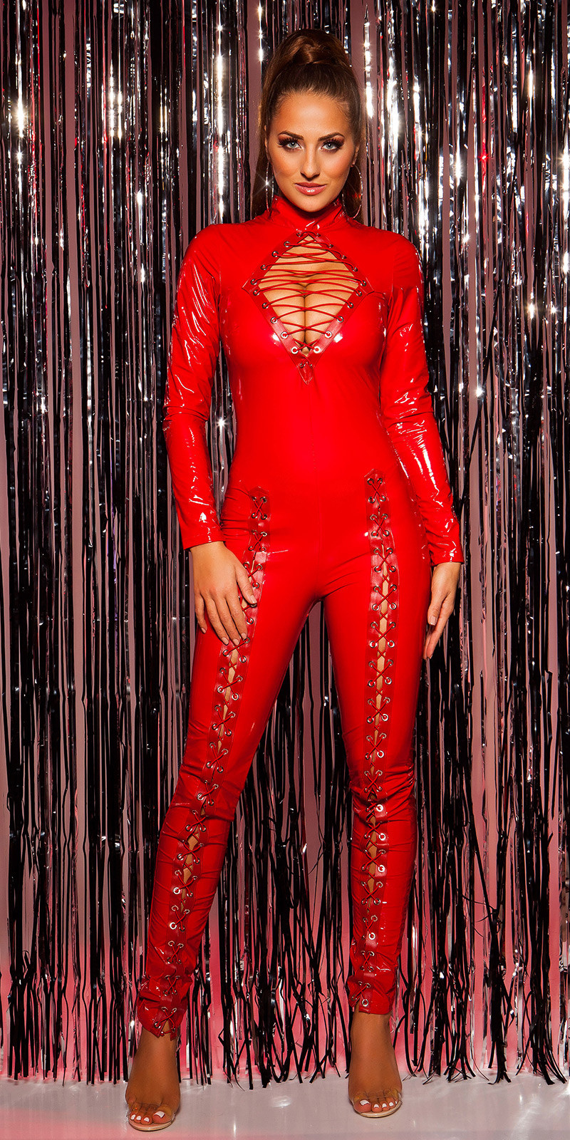 Sexy col latexlook-jumpsuit met veter rood