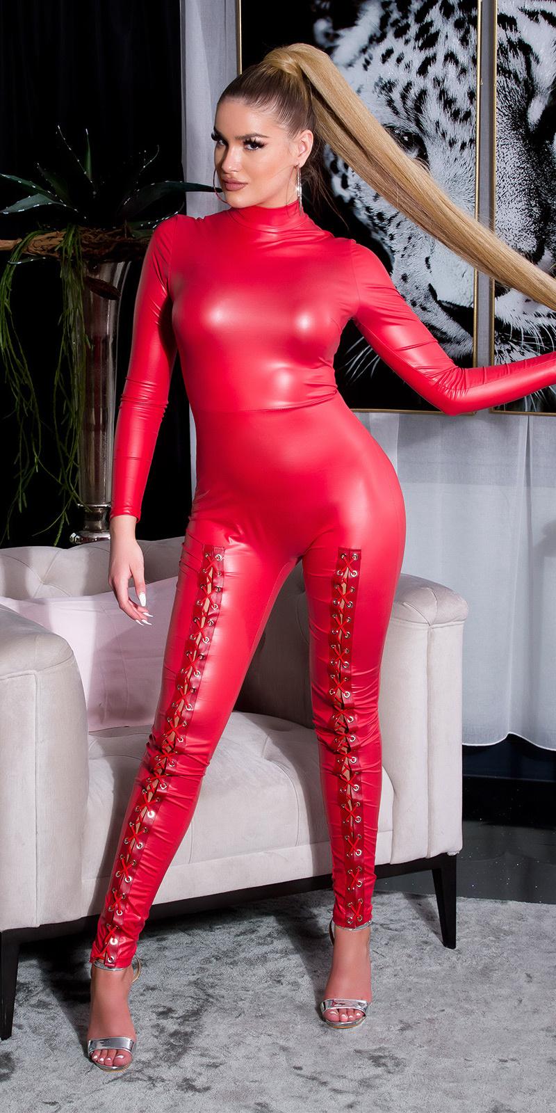 Sexy lederlook catsuit met lange mouwen en veter rood