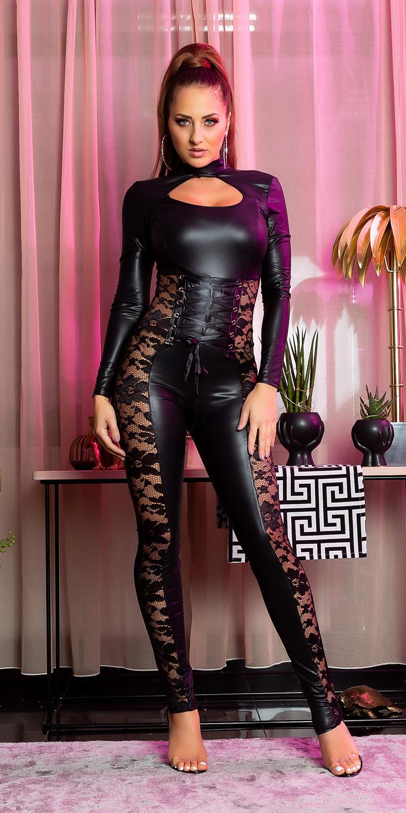 Sexy lederlook langmouw katsuit met kant zwart