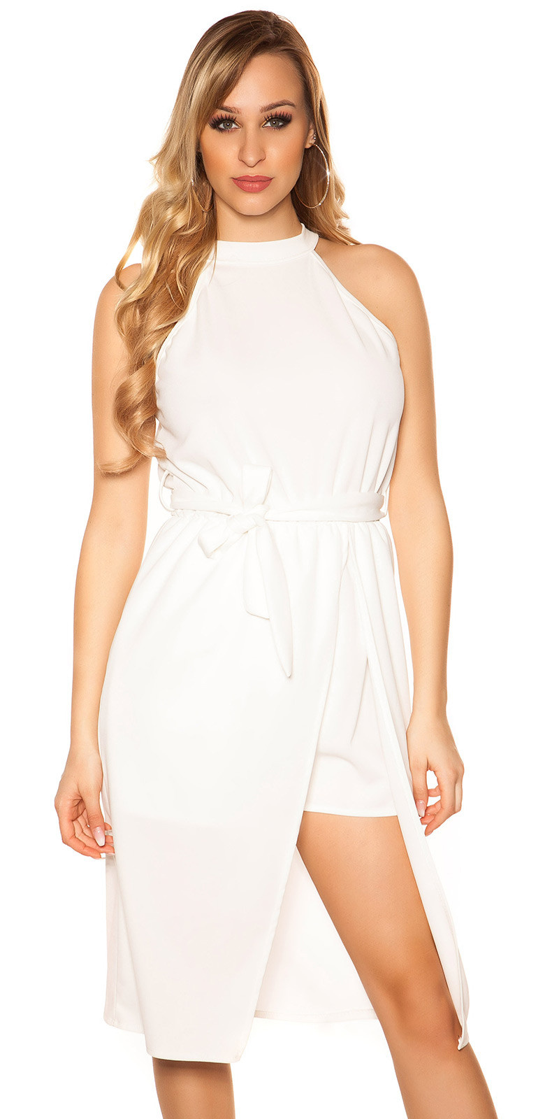 Sexy 2in1 Neck Playsuit with skirt White