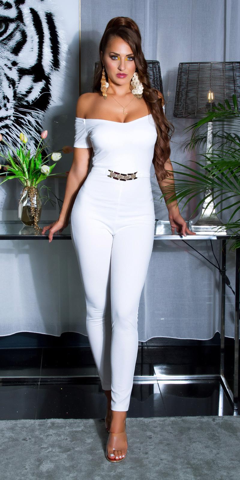 Sexy jumpsuit met gouden gesp & carmen halslijn wit