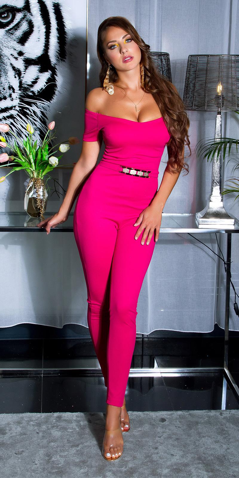 Sexy jumpsuit met gouden gesp & carmen halslijn roze