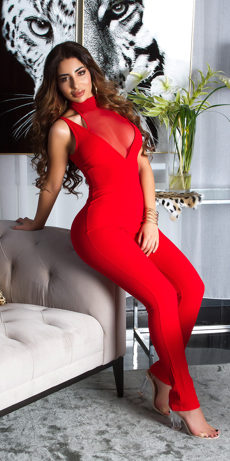 Sexy halter jumpsuit met gaasstof rood