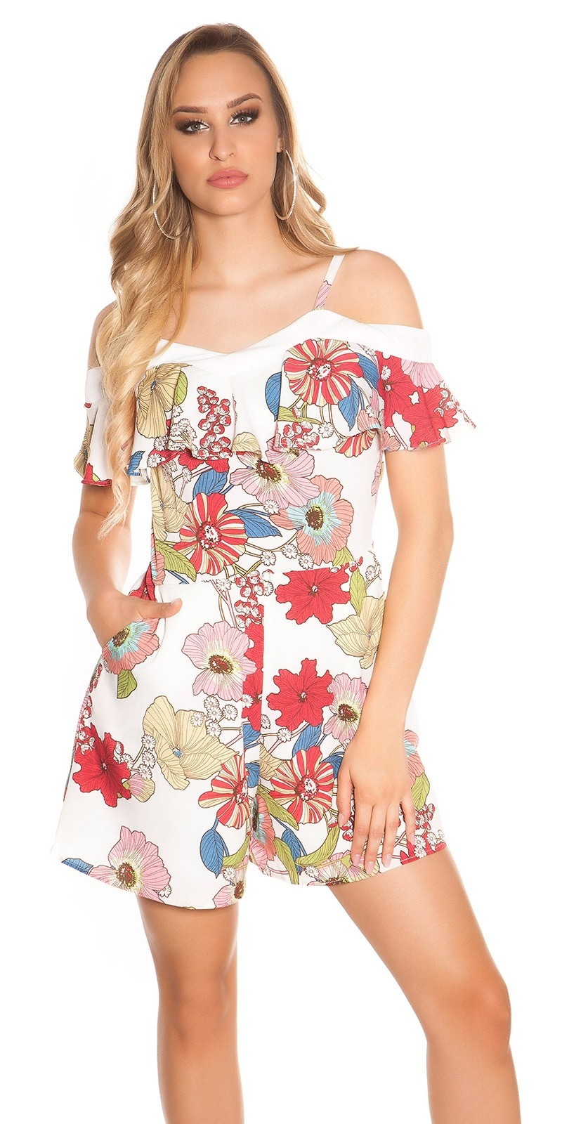 Sexy carrier playsuit with flower print & flounce White