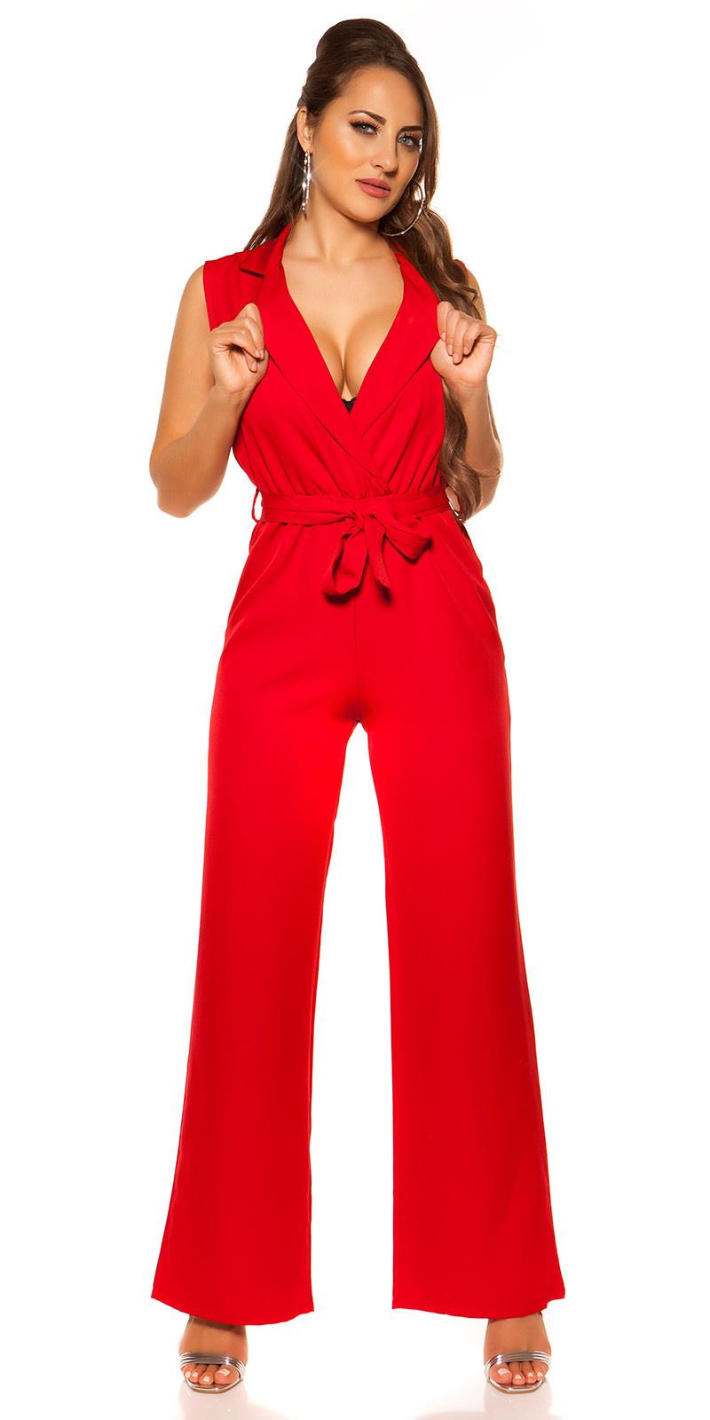 Sexy wikkellook jumpsuit met riem rood