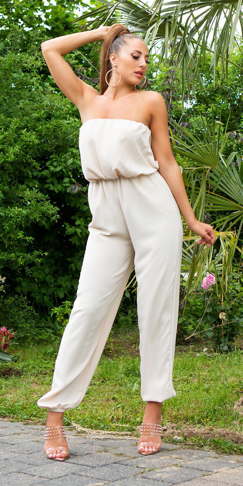 Sexy off-shoulder overall met zakken beige