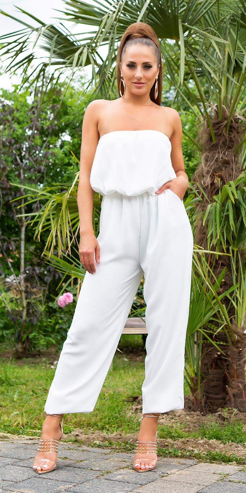 Sexy off-shoulder overall met zakken wit