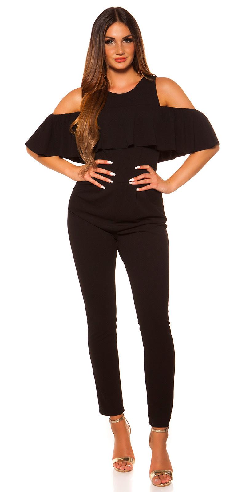 Sexy overall met volant zwart
