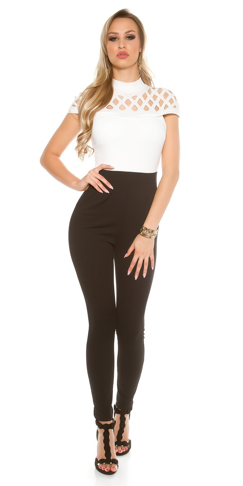 Sexy Overall with grid cut-outs and pockets White