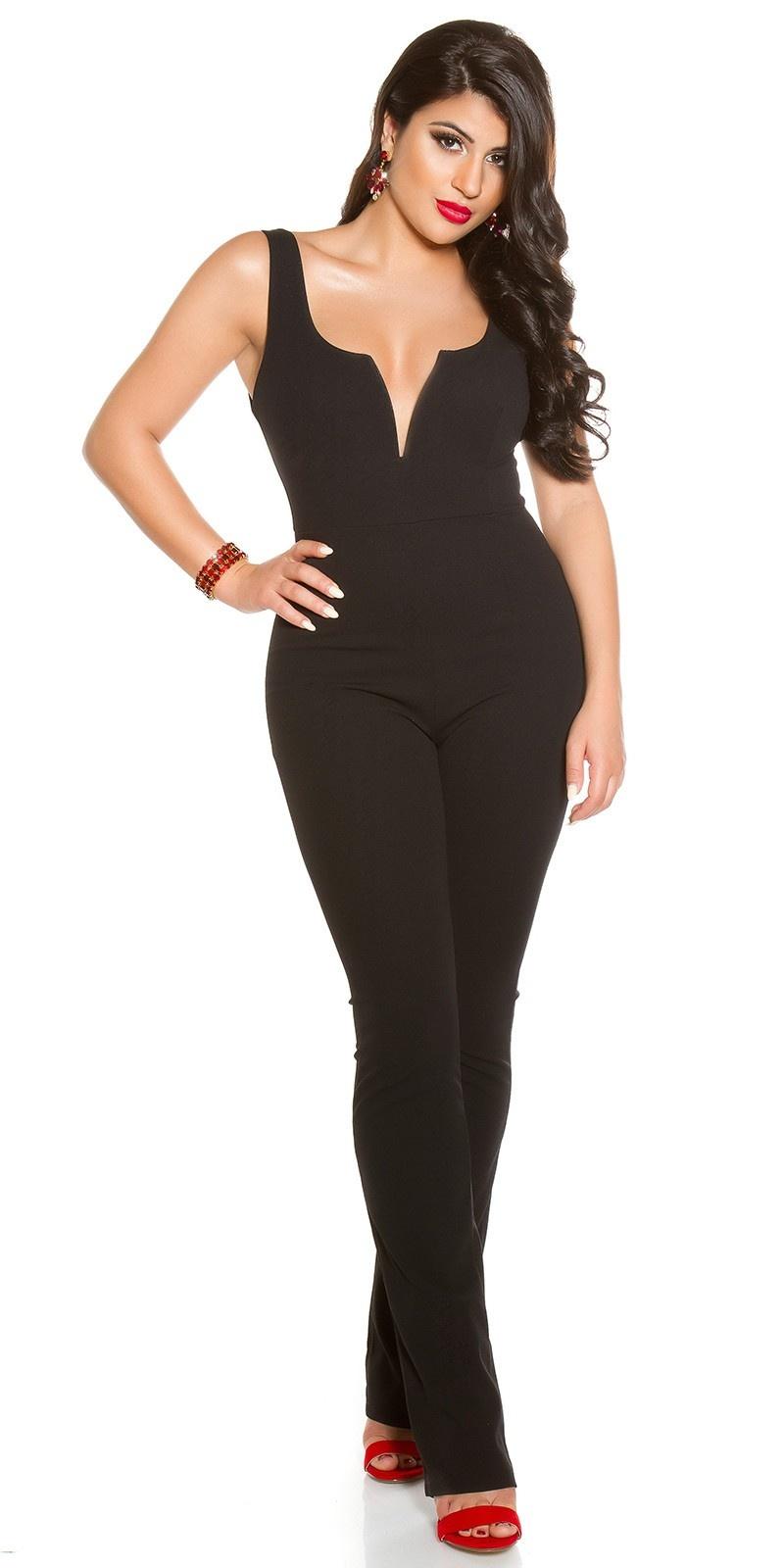 Sexy v-hals jumpsuit zwart
